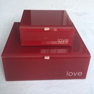 """Two Red Glass """"Love"""" Boxes"""